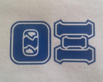 """15% Off Sale -- T-Shirt """"Theta Xi"""" with Blue Letters (Left Chest) --MEDIUM"""