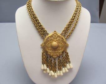 Les Bernard Gold Tone Necklace