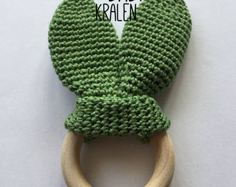 Wooden teething ring with crochet rabbit ears