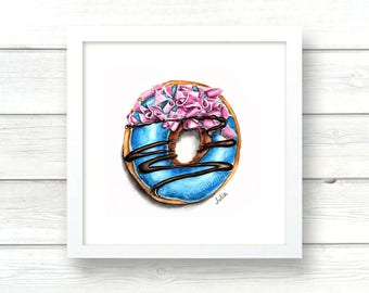 dessert print, wall art print, donut of watercolor print