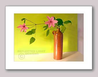 Photo Note Card, Clematis & Pottery Jug