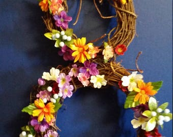 Cat bunny wreath flowers
