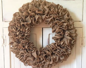 "18"" Burlap Ruffle Wreath - Burlap Wreath - Farmhouse Wreath - DIY Decorating Wreath - Natural Burlap - Embellish Yourself Wreath"