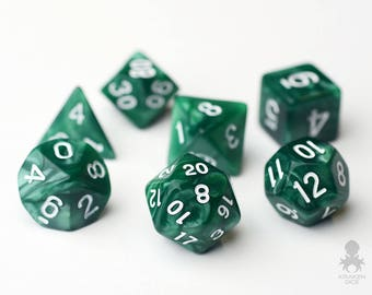 Polyhedral Dice Set Combo | 16mm Dungeons and Dragons DnD Pathfinder d20 RPG Role Playing Games | Green Pearl (KD0007)