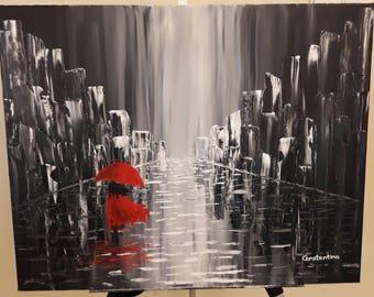 Girl in rainy city