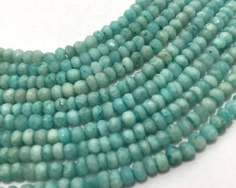 Natural Amazonite Micro Faceted Rondelle Beads, 3.5mm to 4mm, 13 inches, Rondelle Beads, Blue Beads, Gemstone Beads