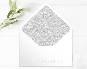 SILVER Glitter Envelope Liners | Wedding Invitations | Glitter | DIY BRIDE | Wedding Stationery | Printable Envelope Liners