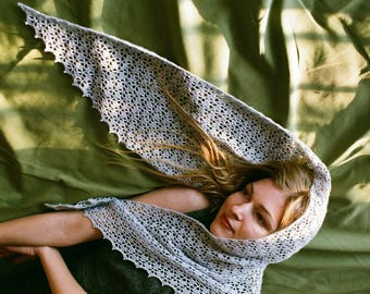 Tender blue crochet shawl from baby alpaca and silk