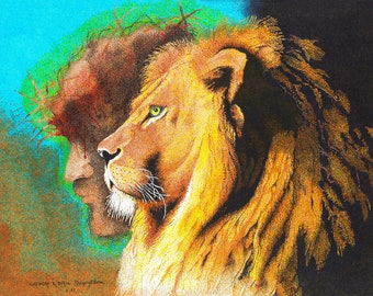 Jesus & Lion of Judah - Pointillism - Reproduction 16 x 20