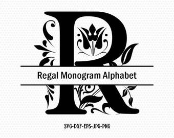 Split Regal Monogram Font SVG Collection - Split Monogram Alphabet DXF - Letter Clipart - Files for Silhouette Cameo or Cricut