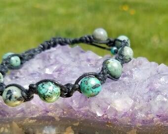 African Turquoise Beaded Macrame Bracelet