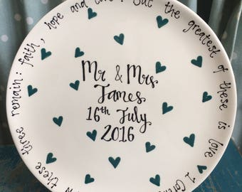 Hand Painted Wedding Gift - Personalised Plate