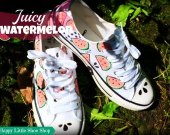 Juicy Watermelon//Sneakers (Handmade) - Happy Little Shoe Shop