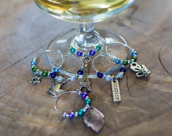 Wine Glass Charms, Silver Wine Glass Charms