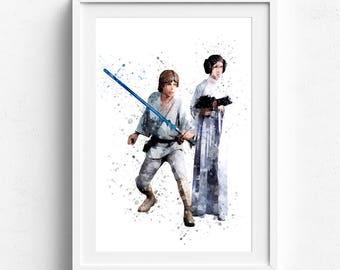 Luke and leia, luke star wars, leia organa solo, princess leia, princess leia print, star wars leia, star wars print, watercolor print