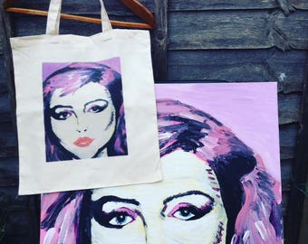 Printed Tote with Hand Painted Pop Art Design