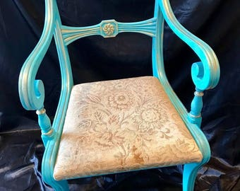 Shabby chic 'The Pacific' turquoise blue wooden chair by 'Baroque N Roll'