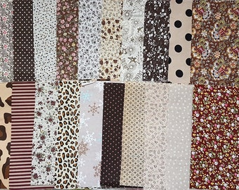 20 pcs 20x25mm Brown Beige Tone Flowers Pattern Fabric Appliques