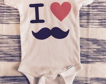 mustache baby onesie