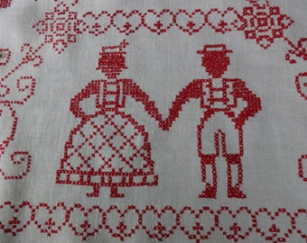 Red cross stiched linen table cloth