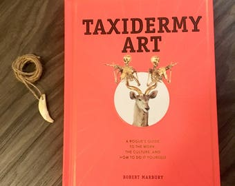 SALE - Taxidermy Art & Coyete Fang Necklace / Charm - A Rogue's guide to the work, the culture, and how to do it yourself by Robert Marbury