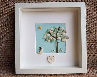 Pebble Art-Seaglass Art-Pebble Dog-Pebble Trees-Love Dogs-Pebble and Seaglass Picture-Unique Pebble and Seaglass Wall Art-Heart