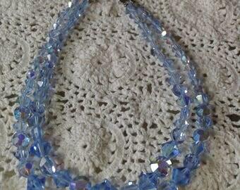 Vintage Blue Crystal Two Strand Choker
