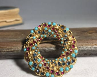 Vintage Gold-tone, Multicolored Costume Brooch