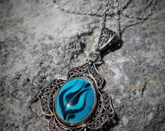 Turkish Handmade Jewelry 925 Sterling Silver Filigree Ceramic Necklace