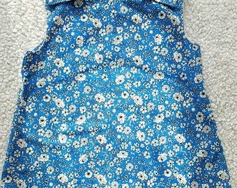 Blue Flowered Dress, Retro  Style Summer Chilled Dress, A line Summer Dress, Pinafore Dress
