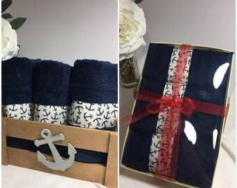Nautical Blue Anchor Decorative Face Towel
