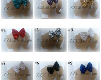 "5"" LARGE Sequin Bows on Matching Elastic or Lined Alligator Clip"