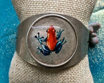 Hand-painted Poison Arrow Frog Cuff Bracelet