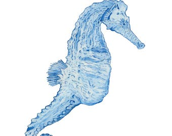 Ltd Edition - A4 & A3 Canvas Print - Original Artwork - Seahorse