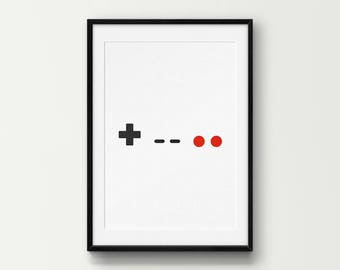Minimal NES Controller Wall Art, Classic, Retro, Gaming, DIY