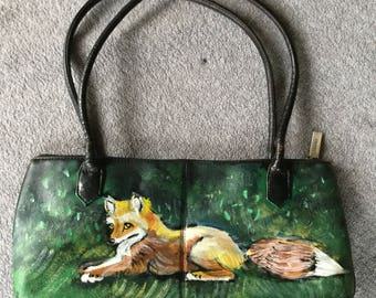 Hand painted fox purse
