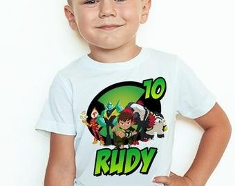 Ben10 Birthday T-Shirt Custom Name and Age Ben 10 Birthday Personalized Name and Age Shirt