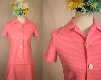 Vintage 60s Pink White Polka Dot A-Line Skirt Suit Set