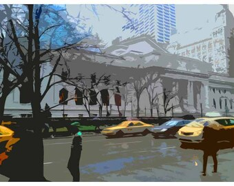 New York City. Yellow Taxi. Vintage print. Photography of the Big Apple. Digital artwork.