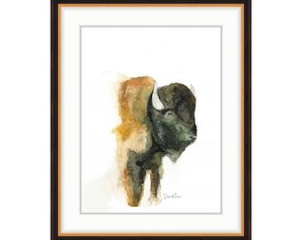 Watercolor Bison Print, Modern Home Decor, Fine Art Prints For Nursery, Watercolor Wall Art, Buffalo Painting, Animal Prints, Bison Art