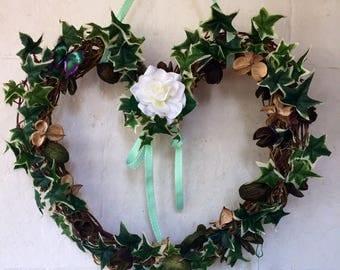 Heart shaped wreath for door
