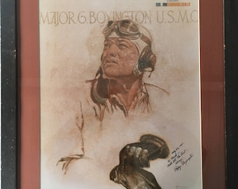 "Baa Baa Black Sheep WW2 Hero ""Pappy""Boyington Autographed Portrait, mounted and framed from Reno Air Races 1981"