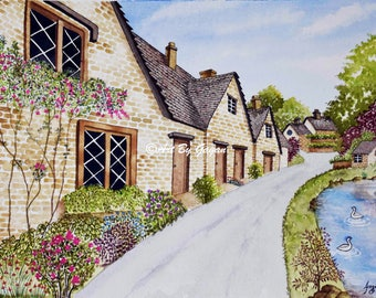 Irish Houses - Art Print, Watercolor painting,Nature painting, Realistic Painting, Landscape painting,Living room decor, nature print