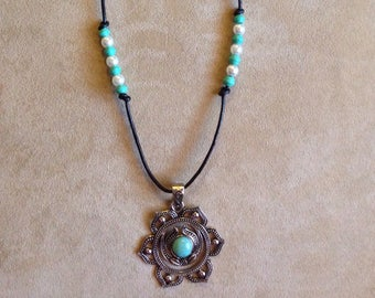 Turquoise Statement necklace made of black leather cord