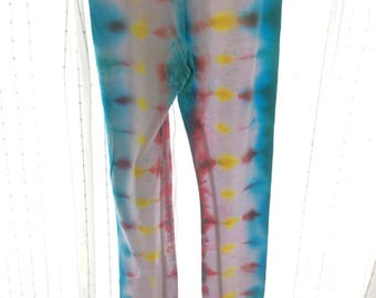 Youth Teal/Pink/Yellow Lined Tie-Dye Leggings