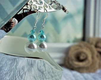 White and Turquoise Pearl and Swarovski Drop Earrings