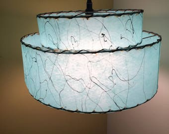 Mid Century Modern Two Tier Fiberglass TURQUOISE Swag Lamp Atomic Hanging Lamp Shade