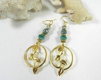 Earrings gold leaf green turquoise print, boho jewelry, designer jewelry, handmade