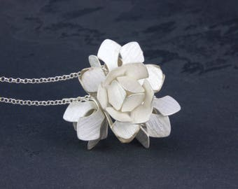 Silver necklace water lily
