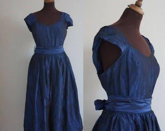 1950s-style / 1980s Midnight Blue Taffeta Prom Dress / Vintage Prom /